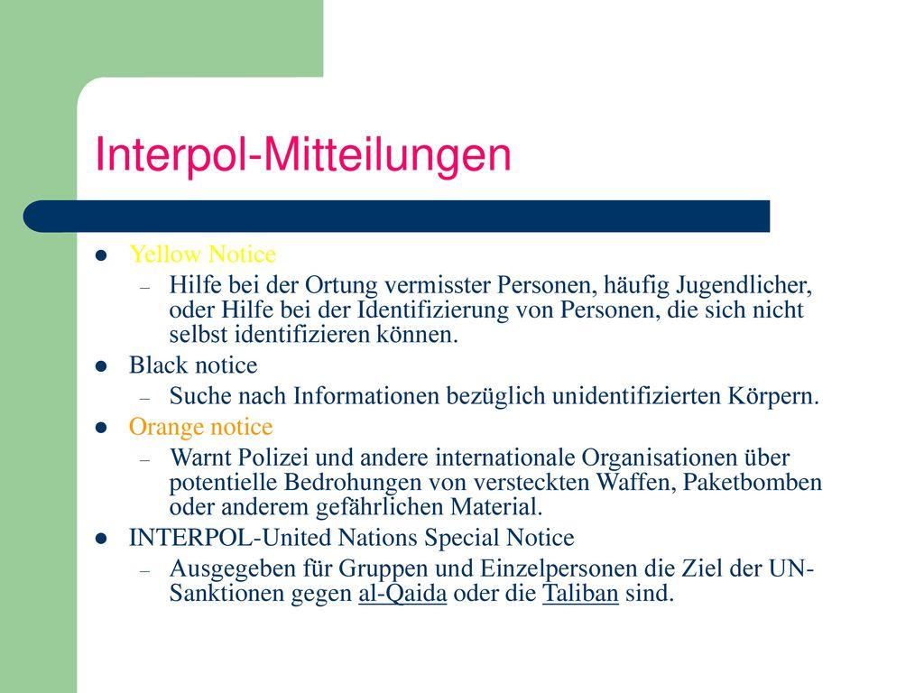 Interpol-Mitteilungen