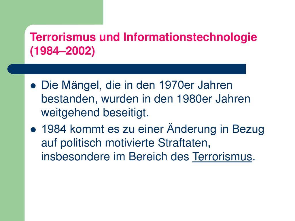 Terrorismus und Informationstechnologie (1984–2002)