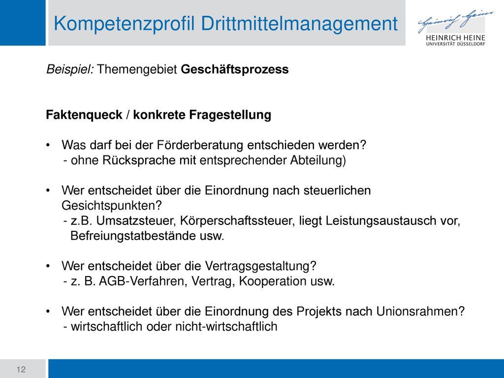 Kompetenzprofil Drittmittelmanagement