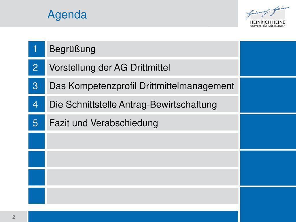 Agenda Begrüßung Vorstellung der AG Drittmittel
