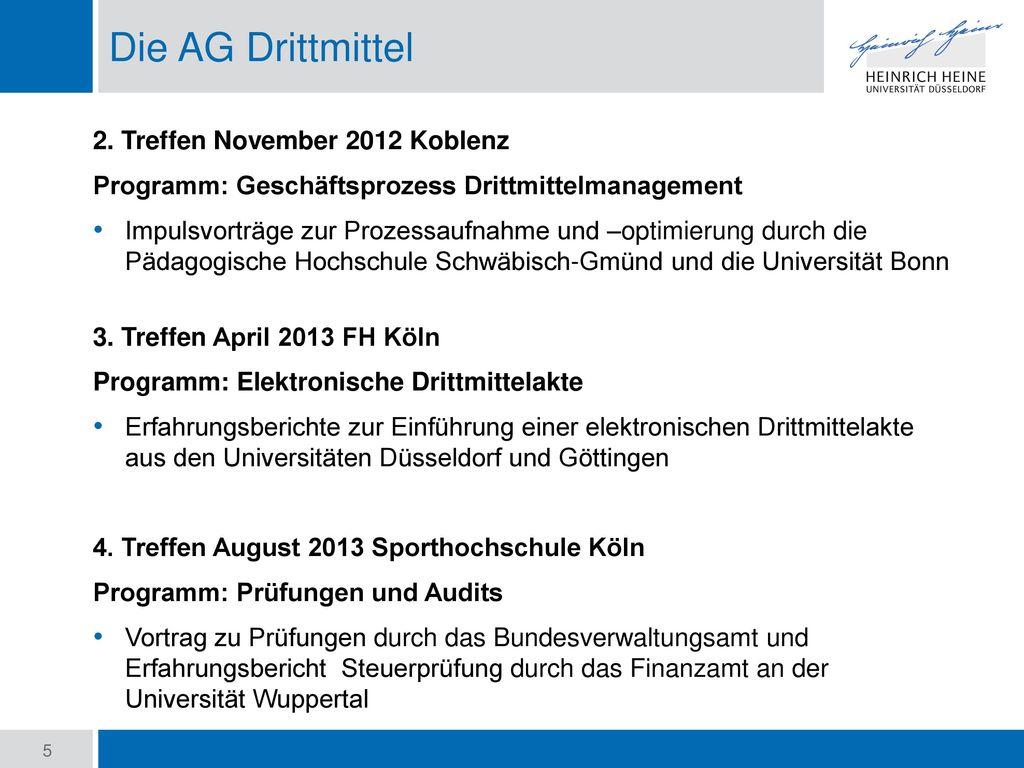 Die AG Drittmittel 2. Treffen November 2012 Koblenz