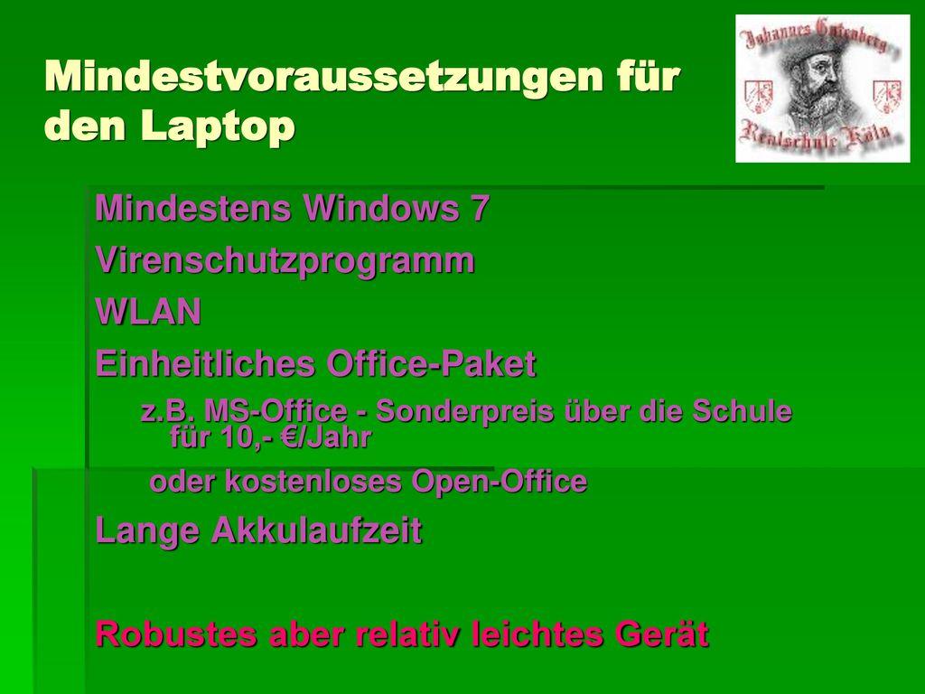 Mindestvoraussetzungen für den Laptop