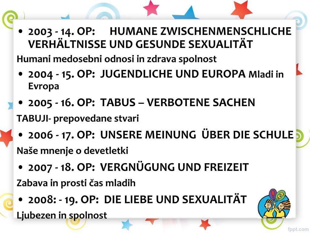 2004 - 15. OP: JUGENDLICHE UND EUROPA Mladi in Evropa