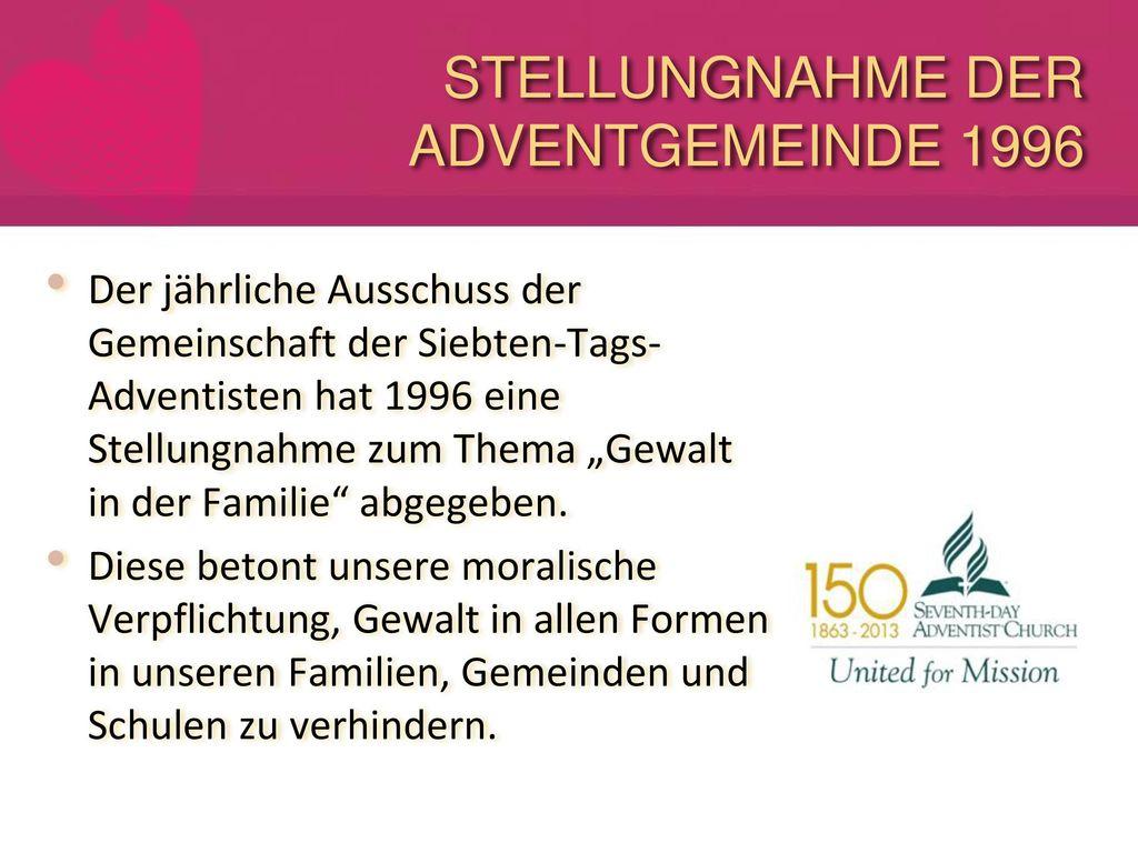 STELLUNGNAHME DER ADVENTGEMEINDE 1996