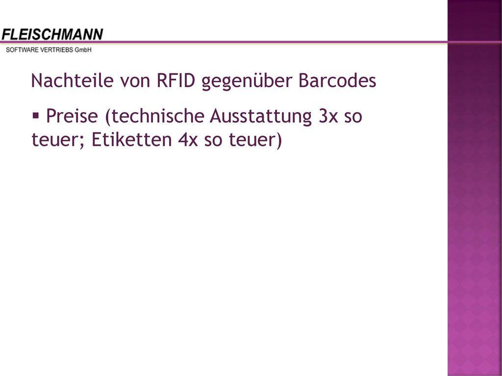 Nachteile von RFID gegenüber Barcodes