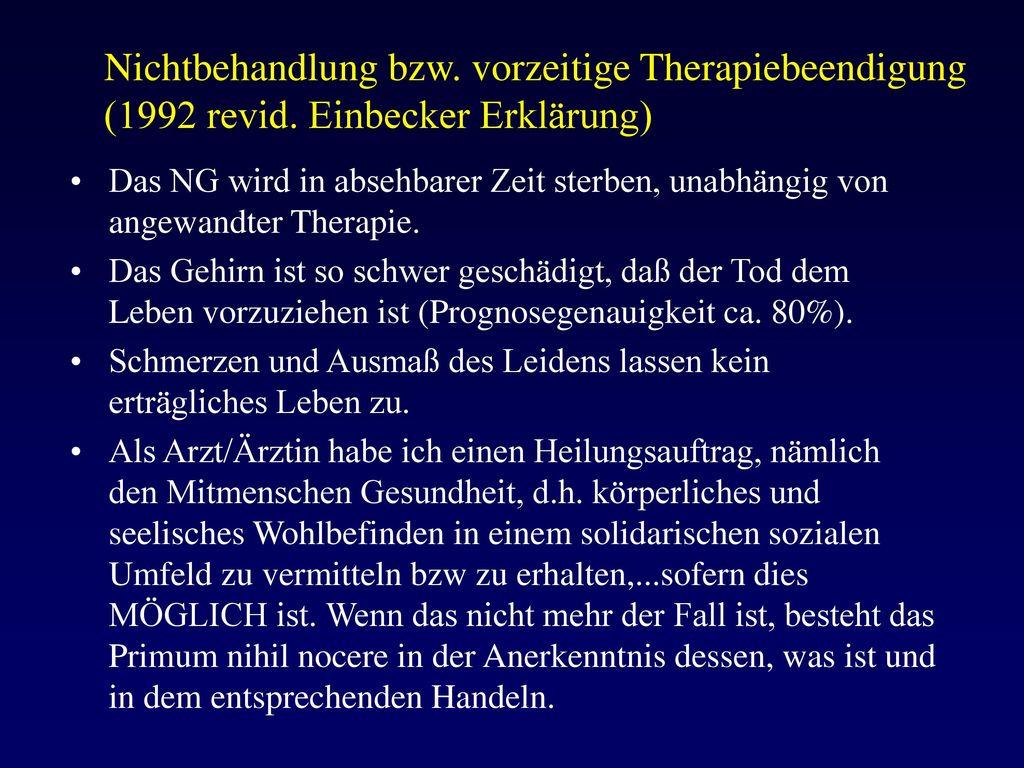 Nichtbehandlung bzw. vorzeitige Therapiebeendigung (1992 revid