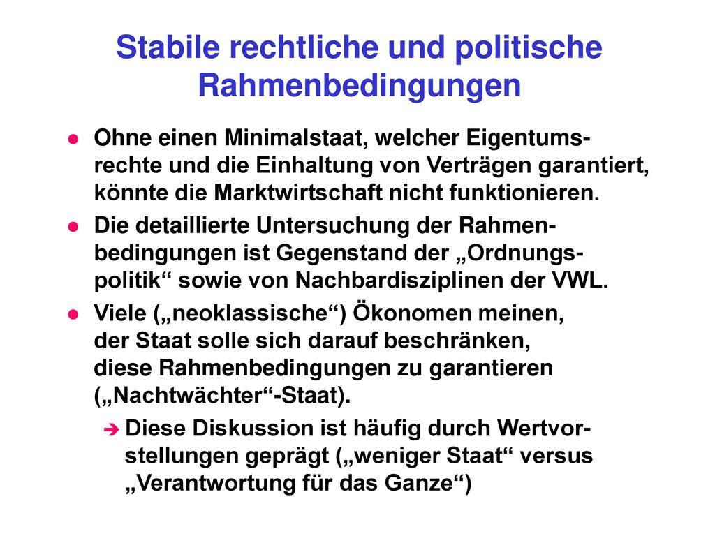 Stabile rechtliche und politische Rahmenbedingungen