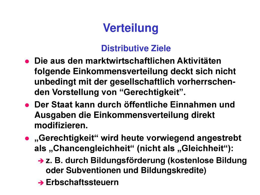 Verteilung Distributive Ziele