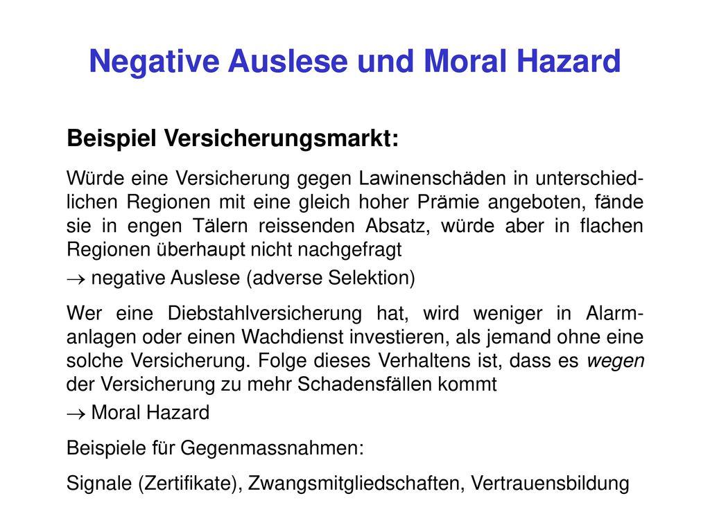 Negative Auslese und Moral Hazard