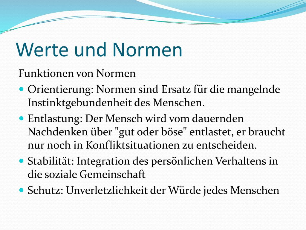 Werte und Normen Funktionen von Normen