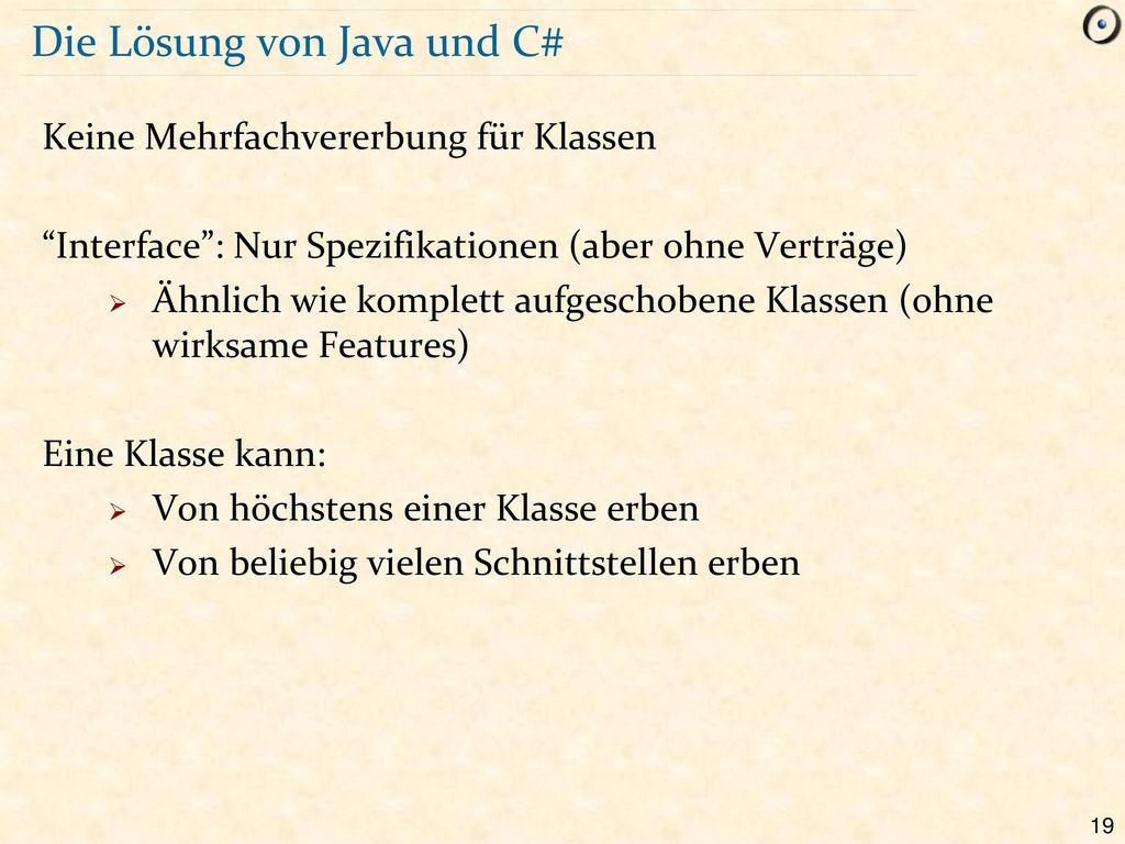 Die Lösung von Java und C#
