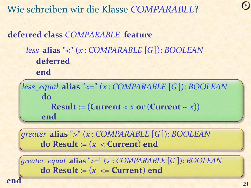 Wie schreiben wir die Klasse COMPARABLE