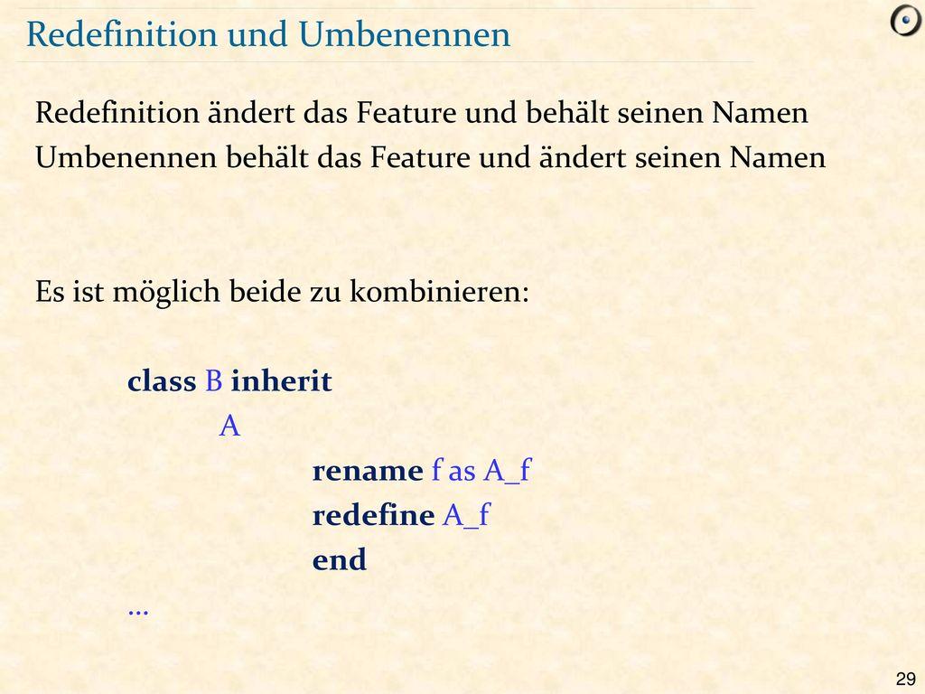 Redefinition und Umbenennen
