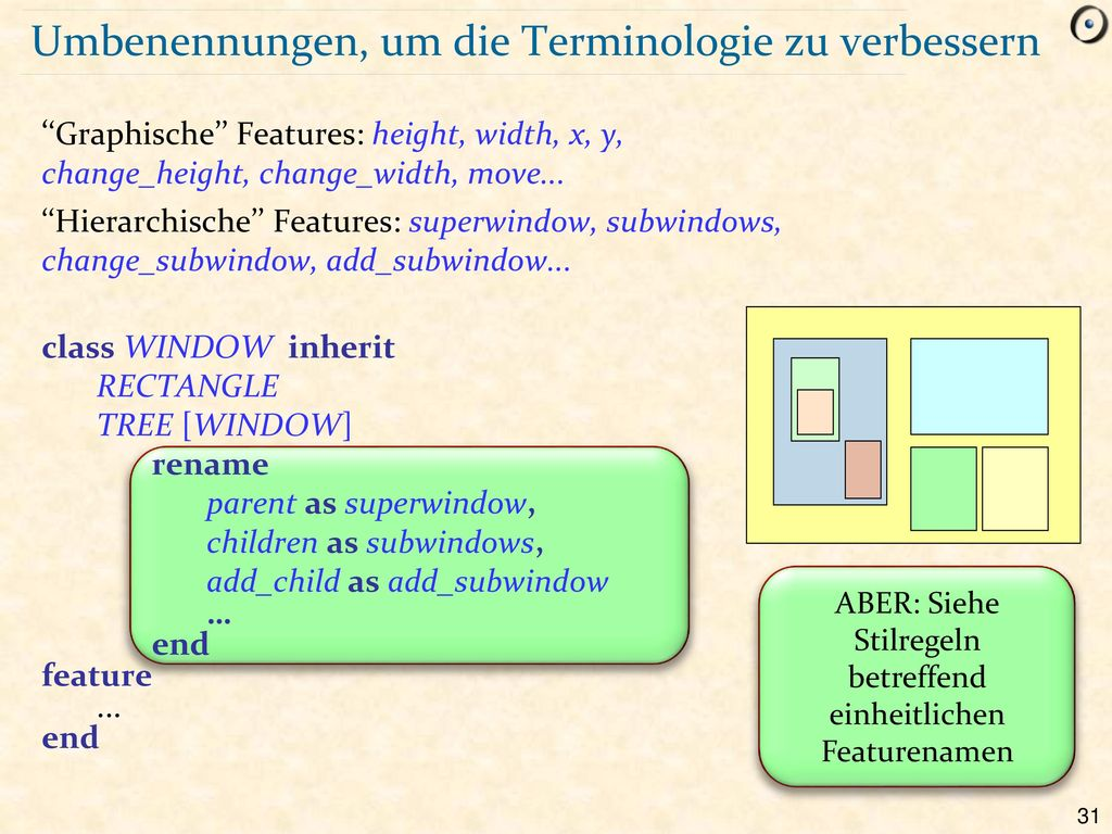 Umbenennungen, um die Terminologie zu verbessern