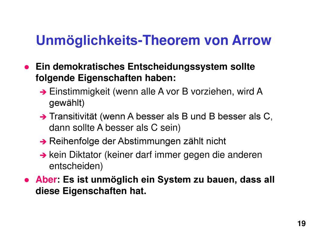 Unmöglichkeits-Theorem von Arrow