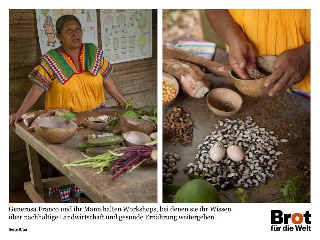 Generosa Franco und ihr Mann halten Workshops, bei denen sie ihr Wissen über nachhaltige Landwirtschaft und gesunde Ernährung weitergeben.