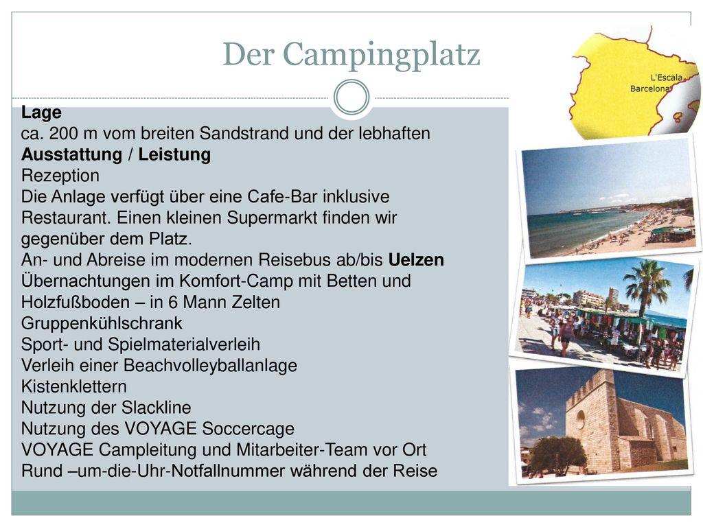 Der Campingplatz Lage. ca. 200 m vom breiten Sandstrand und der lebhaften Ausstattung / Leistung. Rezeption.