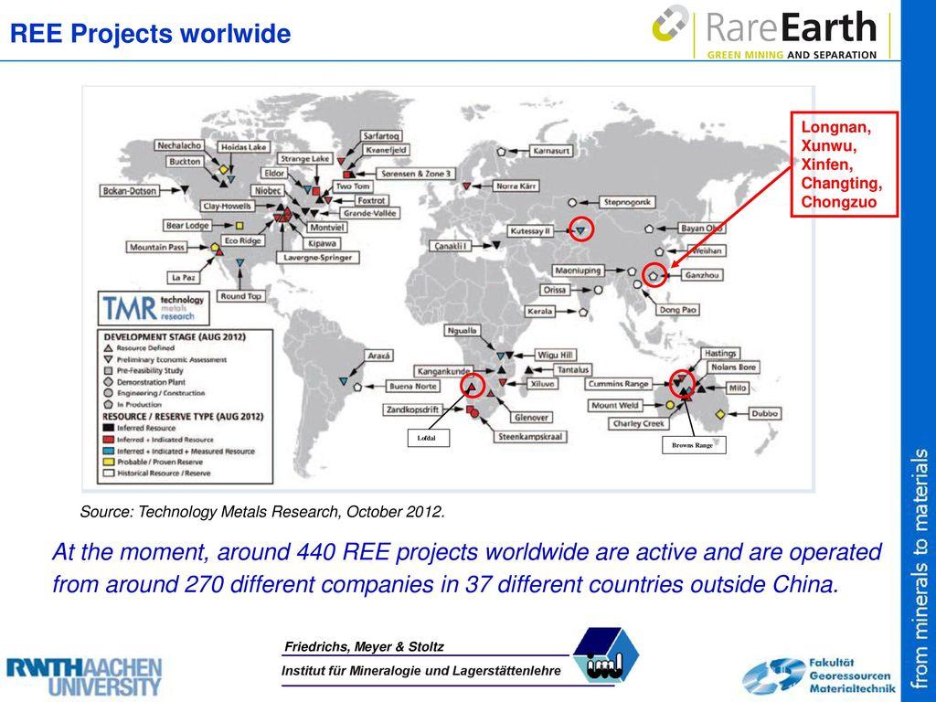 REE Projects worlwide Longnan, Xunwu, Xinfen, Changting, Chongzuo. Lofdal. Browns Range. Source: Technology Metals Research, October 2012.