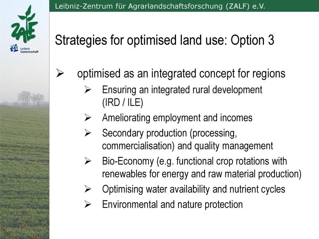 Strategies for optimised land use: Option 3