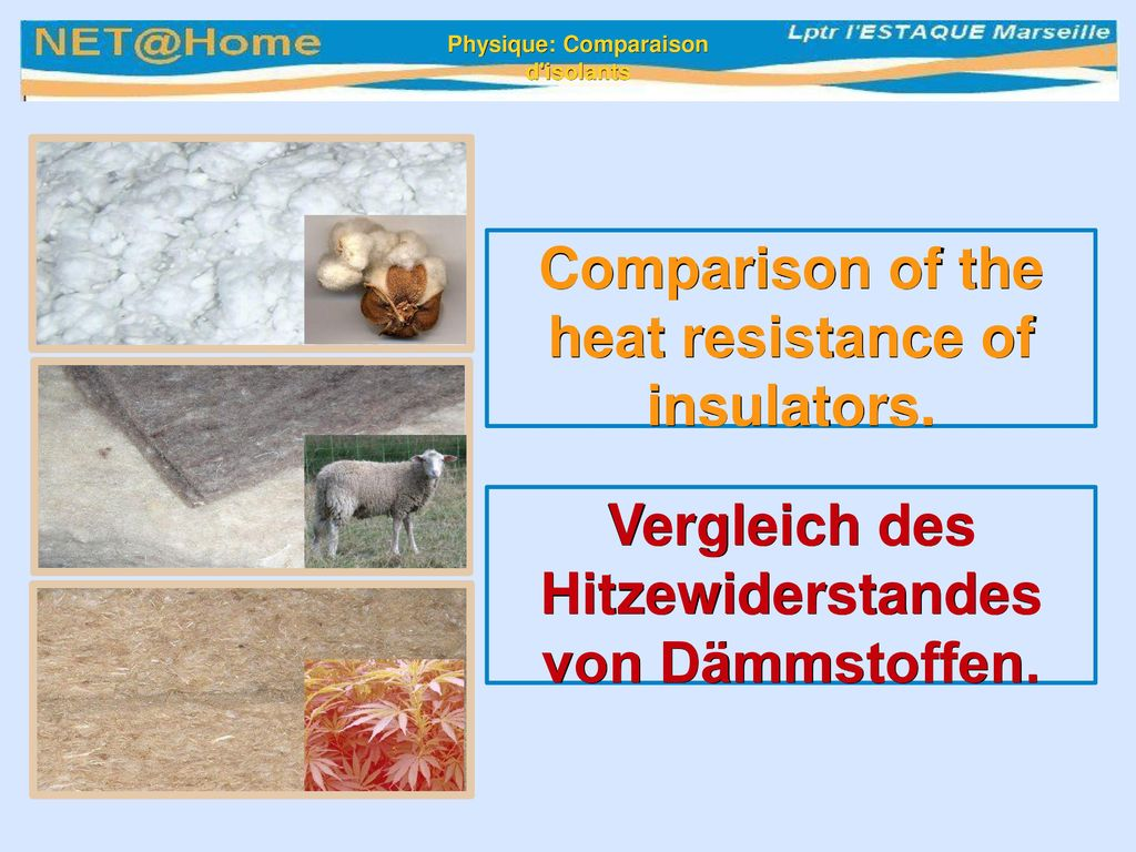 Comparison of the heat resistance of insulators.