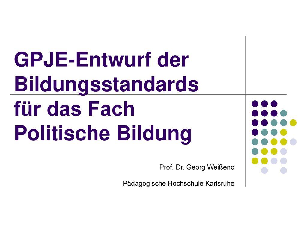 GPJE-Entwurf der Bildungsstandards für das Fach Politische Bildung