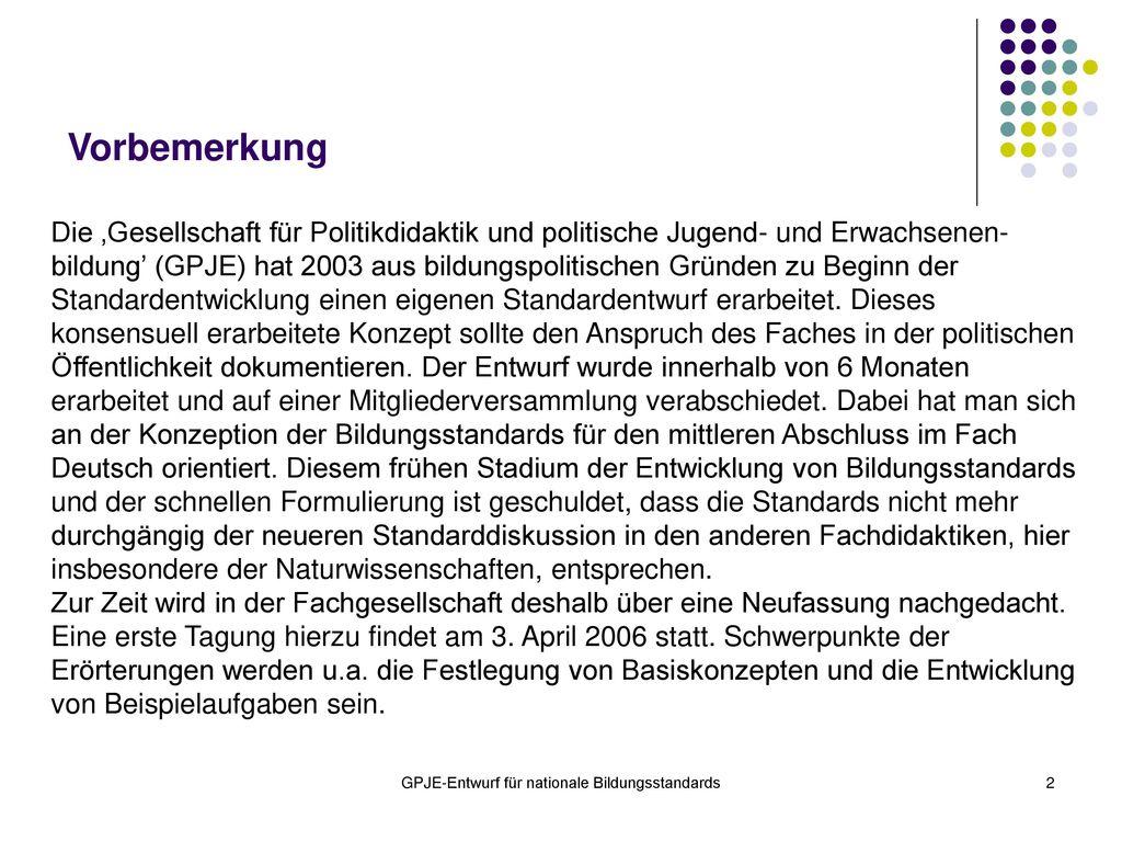 GPJE-Entwurf für nationale Bildungsstandards