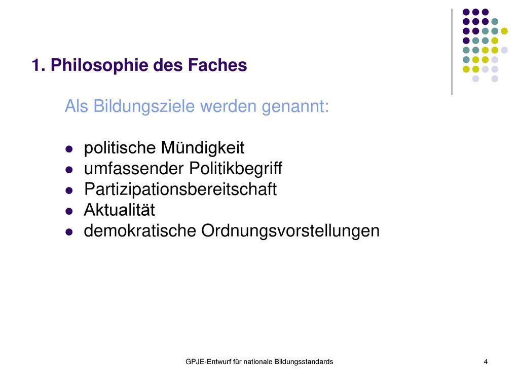 1. Philosophie des Faches