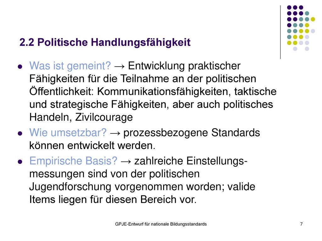2.2 Politische Handlungsfähigkeit