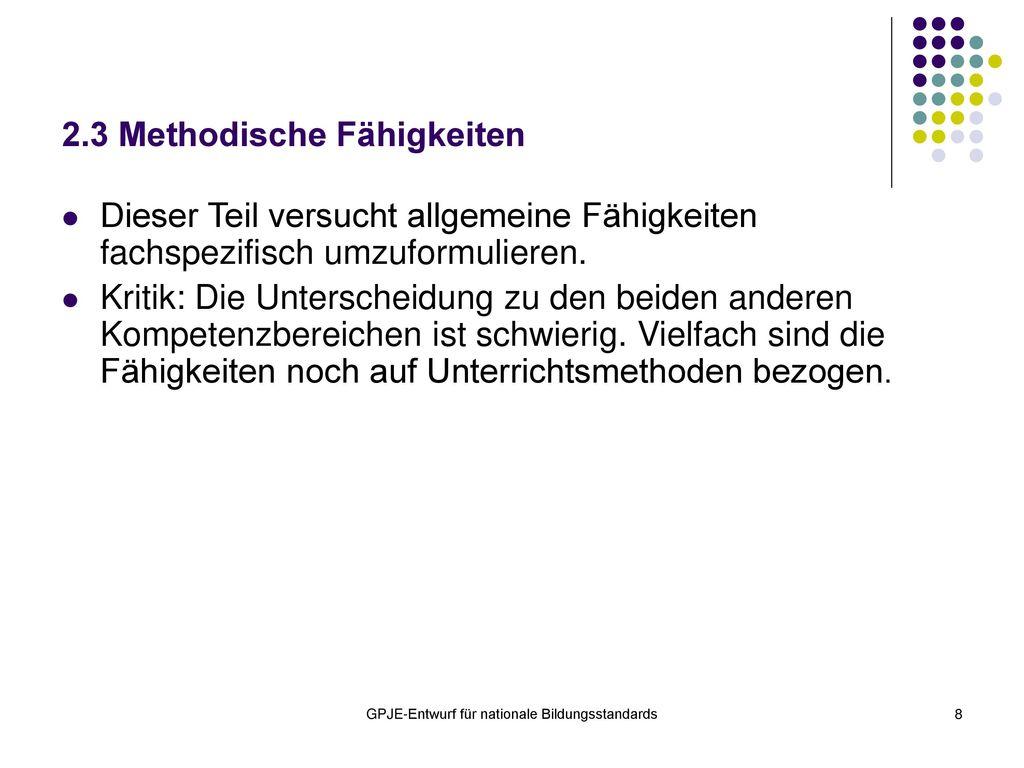 2.3 Methodische Fähigkeiten