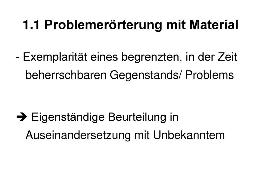 1.1 Problemerörterung mit Material