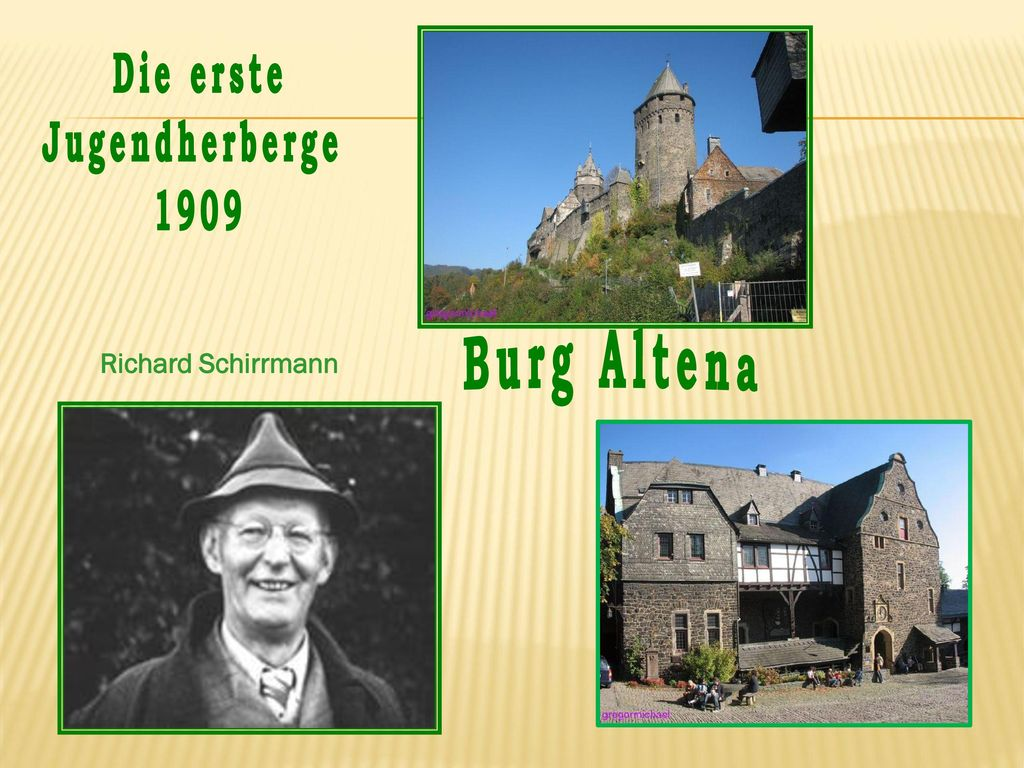 Die erste Jugendherberge 1909 Burg Altena Richard Schirrmann