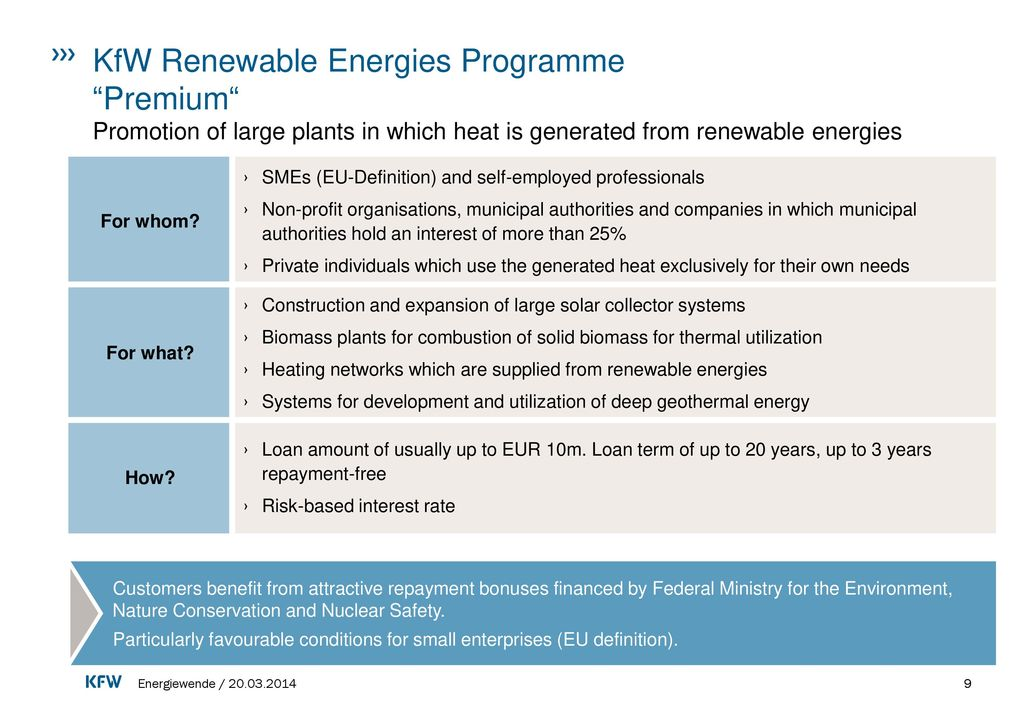 KfW Renewable Energies Programme Premium Promotion of large plants in which heat is generated from renewable energies
