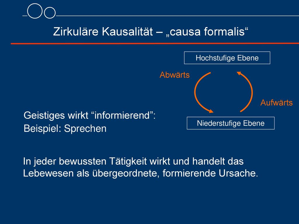 """Zirkuläre Kausalität – """"causa formalis"""