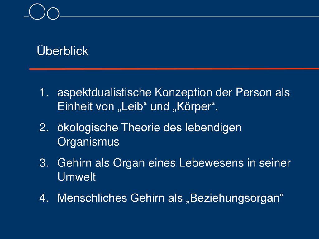 """Überblick aspektdualistische Konzeption der Person als Einheit von """"Leib und """"Körper . ökologische Theorie des lebendigen Organismus."""