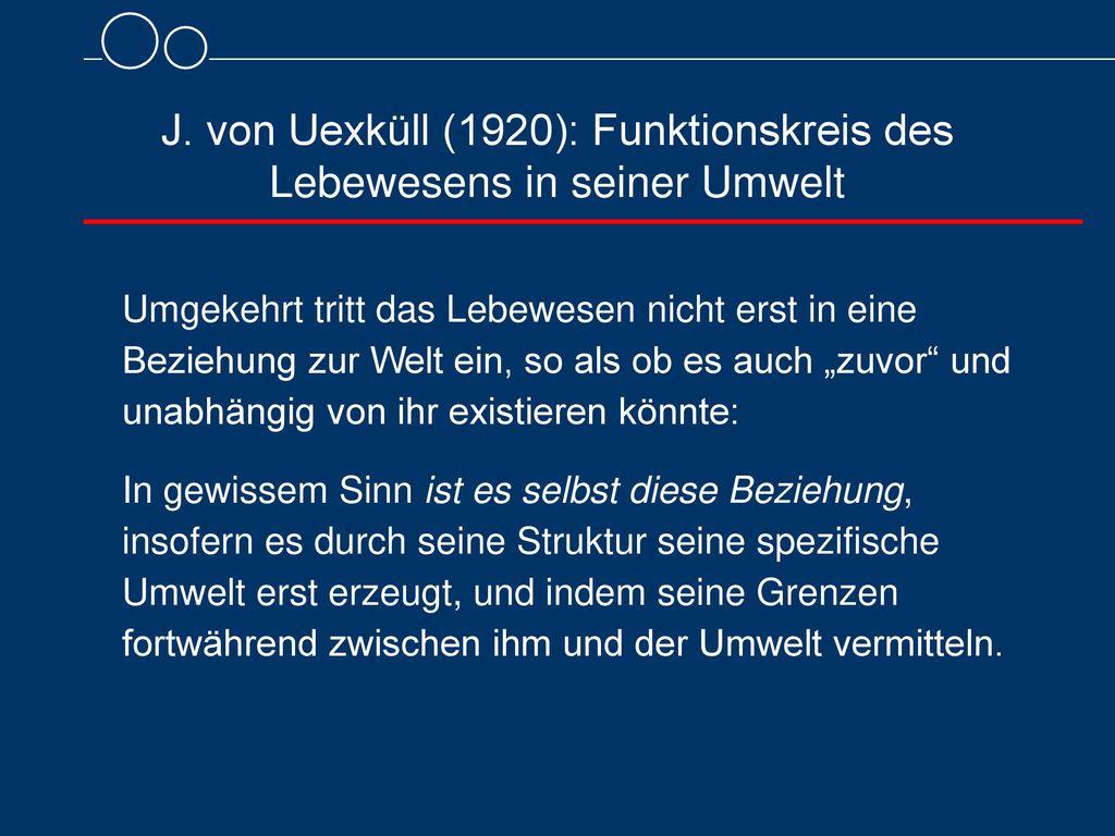 J. von Uexküll (1920): Funktionskreis des Lebewesens in seiner Umwelt
