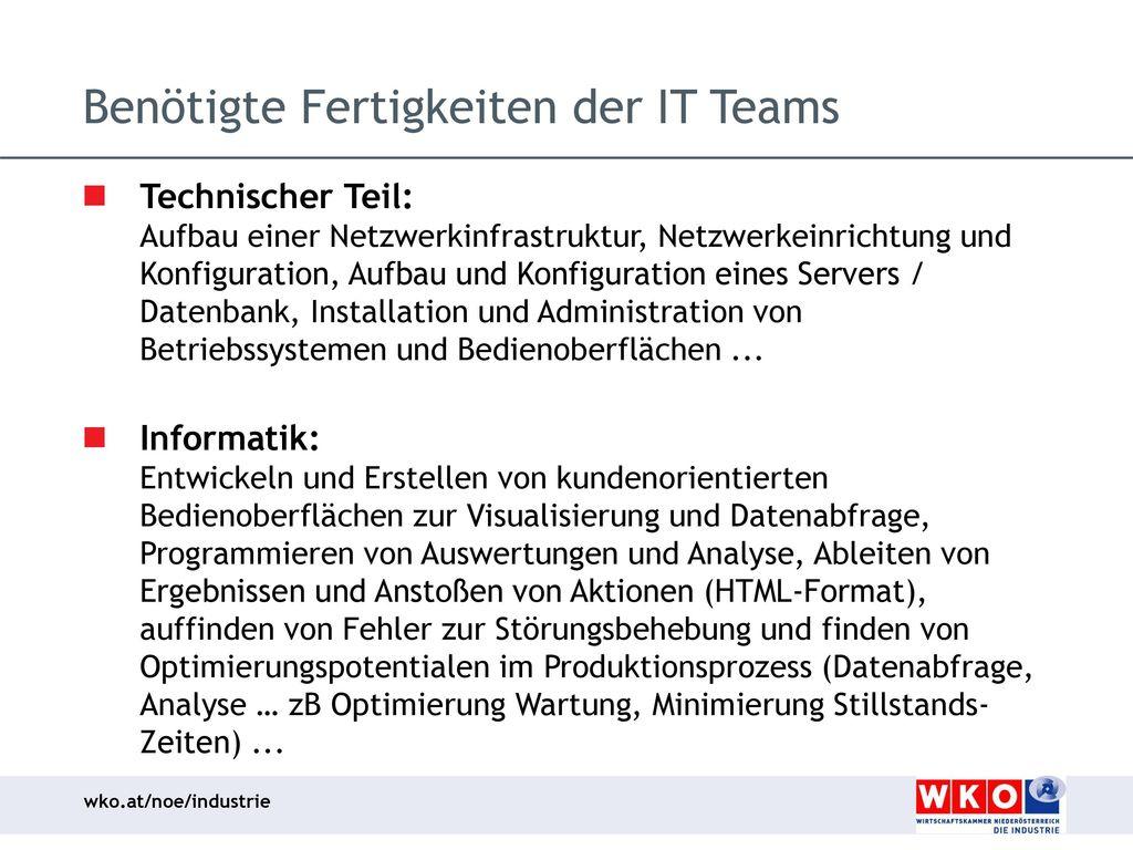 Benötigte Fertigkeiten der IT Teams