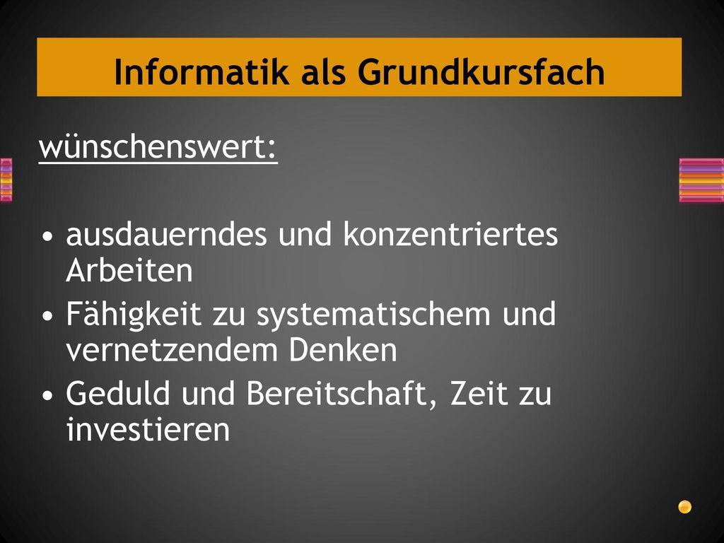 Informatik als Grundkursfach