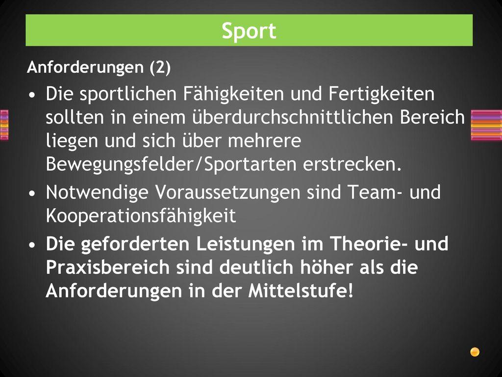 Sport Anforderungen (2)