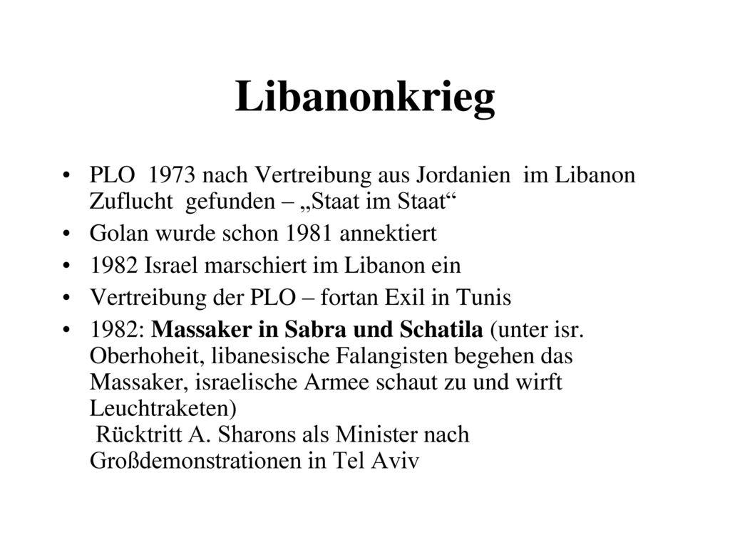 """Libanonkrieg PLO 1973 nach Vertreibung aus Jordanien im Libanon Zuflucht gefunden – """"Staat im Staat"""
