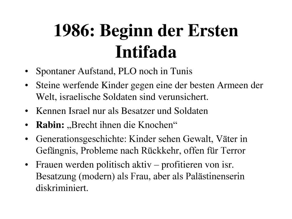 1986: Beginn der Ersten Intifada