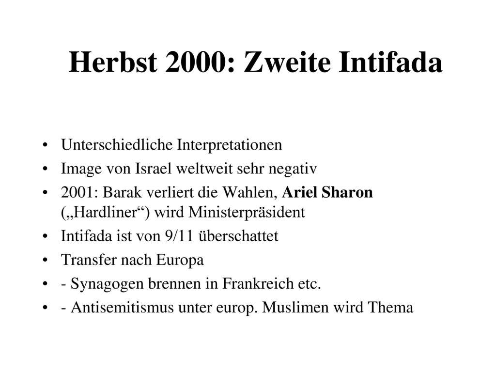 Herbst 2000: Zweite Intifada