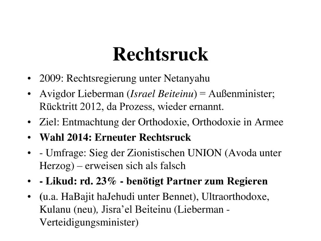 Rechtsruck 2009: Rechtsregierung unter Netanyahu