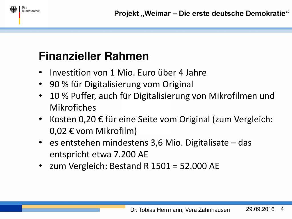 Finanzieller Rahmen Investition von 1 Mio. Euro über 4 Jahre