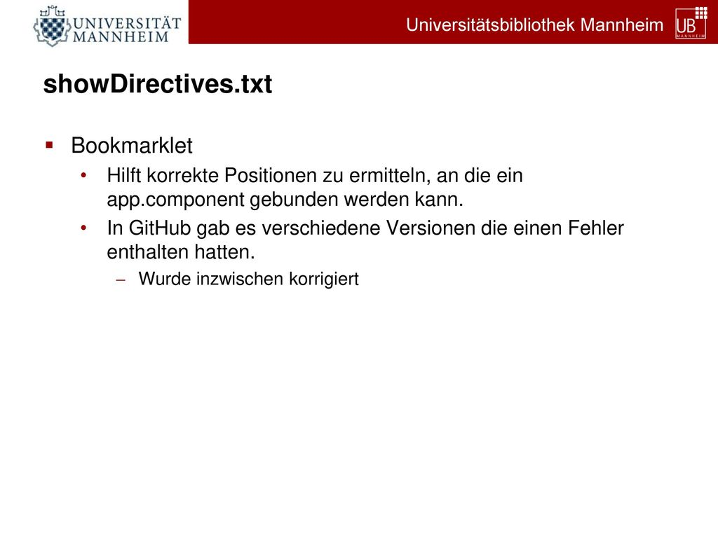 showDirectives.txt Bookmarklet