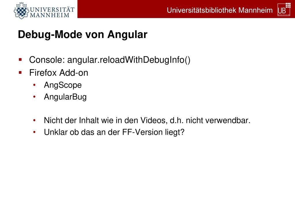 Debug-Mode von Angular