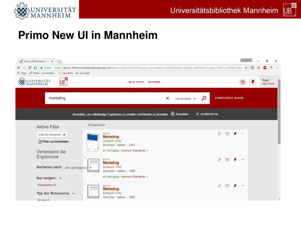 Primo New UI in Mannheim