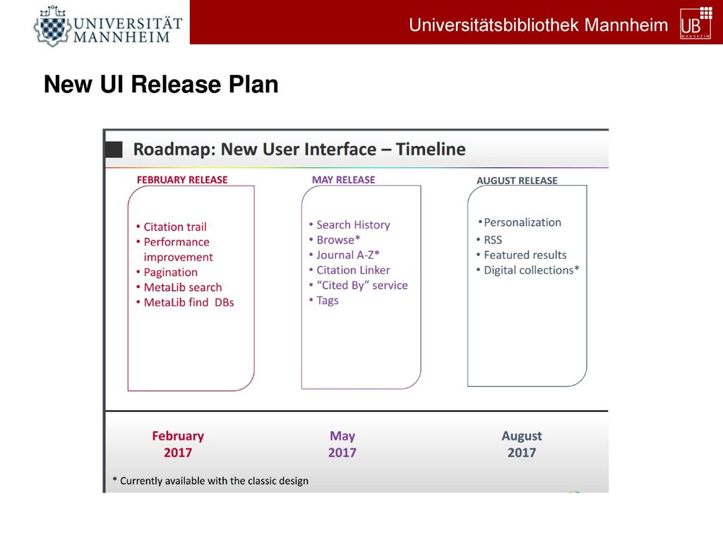 New UI Release Plan
