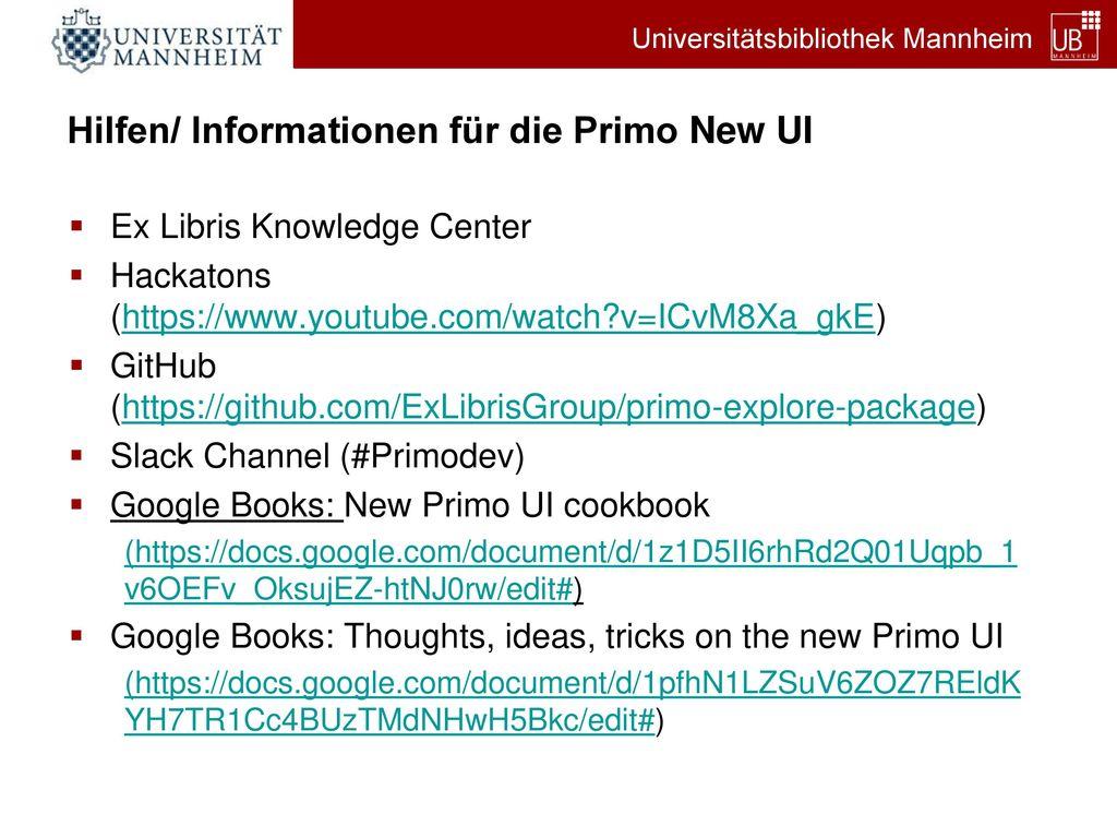 Hilfen/ Informationen für die Primo New UI