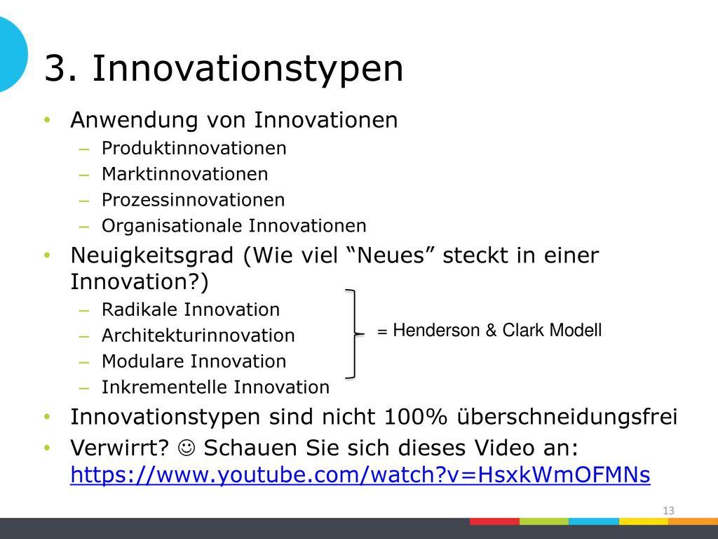 3. Innovationstypen Anwendung von Innovationen