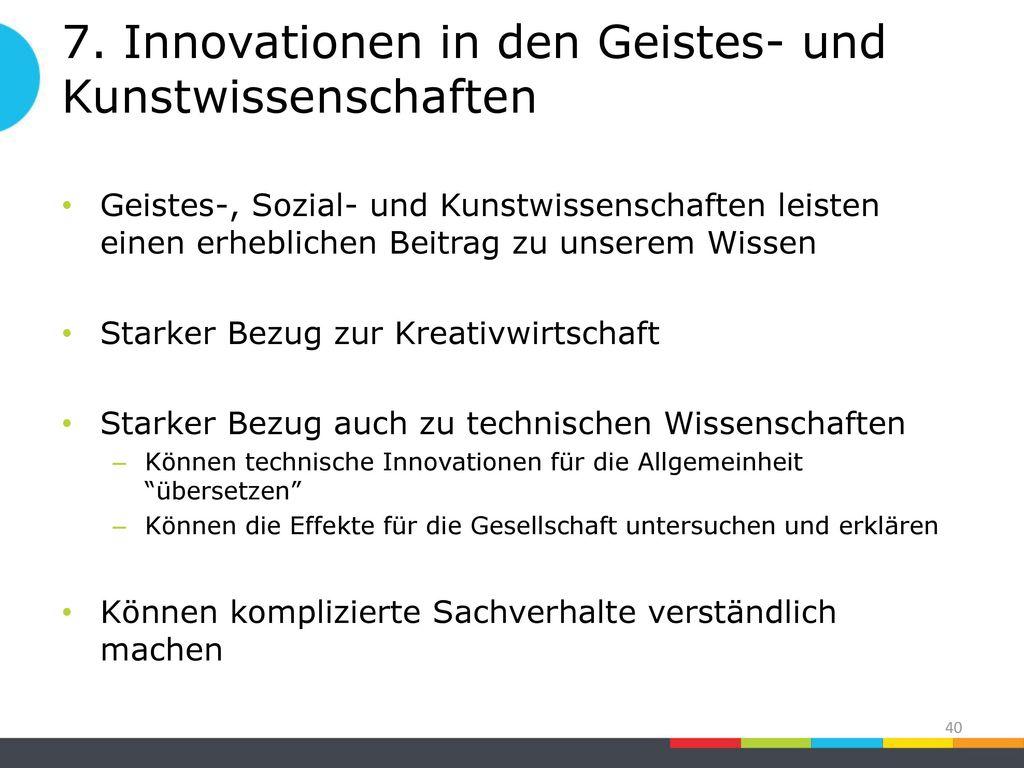 7. Innovationen in den Geistes- und Kunstwissenschaften